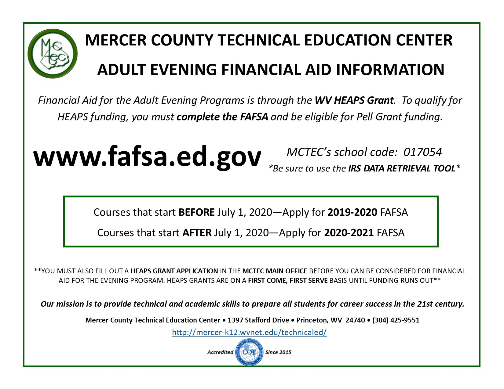 Adult Evening Financial Aid Flyer